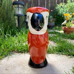 "Accents - Vintage 🦜 8"" Ceramic Bird Macaw Parrot Tiki Vase"